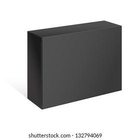 Realistic Black Package Box. For Software, electronic device and other products. Vector illustration.