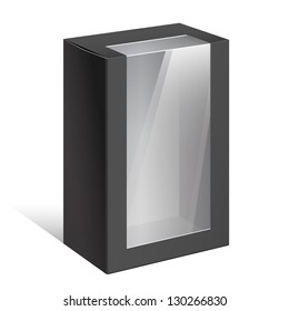 Realistic Black Package Cardboard Box with a transparent plastic window. On separate layers box and plastic window. Vector illustration.