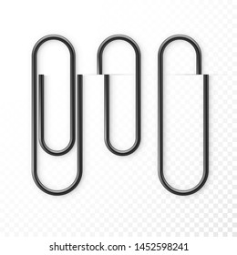 Realistic Black Paper Clip Attachment Set with shadow. Attach file business document. Paperclip icon. Vector illustration isolated on transparent background
