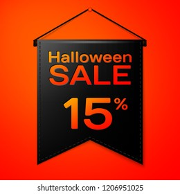 Realistic Black pennant with inscription Halloween Sale Fifteen percent for discount on red background. Colorful sticker, banner for sale, shopping, business theme. Vector illustration