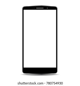 Realistic black phone, communication technology device - stock vector