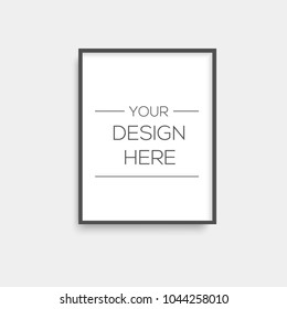 Realistic black picture frame. Vector