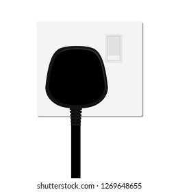 Realistic black plug inserted in electrical outlet power socket, isolated on white background. Icon of device for connecting electrical appliances, equipment. Electric plug and socket.