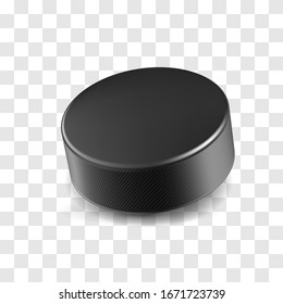 Realistic black rubber hockey puck isolated on transparent background. Ice hockey competition and design element for tournament banner. Sports equipment for team game on stadium vector illustration.
