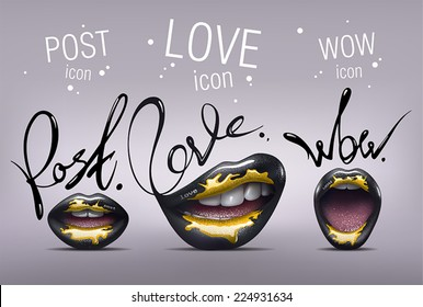 Realistic black sexy Lips with yellow paint on them. Stylized glamorous Lips icon set with Post, Love and Wow words. Vector