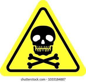 Realistic black skull yellow warning mark