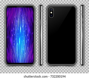 Realistic Black Slim Smartphone inspired by iPhone X on Transparent Background. Front, Rear and Side View. Device Mockup Separate Groups and Layers. Easily Editable Vector. EPS 10