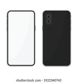 Realistic black Smartphone with blank screen, isolated on white background.  Modern Mobile phone Front and Back view. Smart Phones two sizes mockup design. Vector illustration EPS 10.