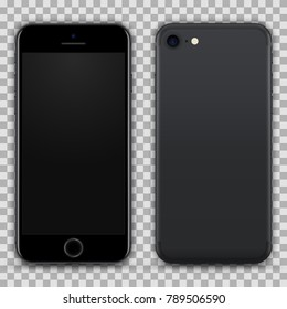 Realistic Black Smartphone with Blank Screen Isolated on Background. Front and Back View For Print, Web, Application. High Detailed Device Mockup Separate Groups and Layers. Easily Editable Vector.