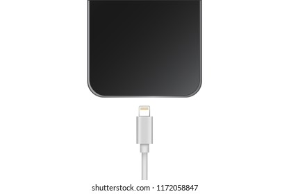 Realistic Black Smartphone with Charger Cable Isolate on white background.
