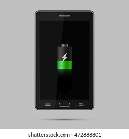 Realistic black smartphone. Mobile phone with black screen and charging sign. Gadget isolated on grey background. Vector eps 10