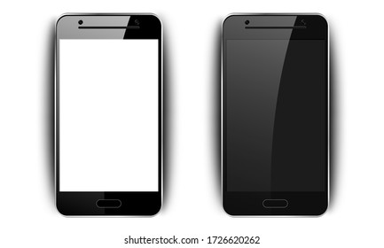 Realistic black smartphone. Phone mockup with shadow, camera and glare, mobile phone with blank screen for your design on isolated background, vector illustration