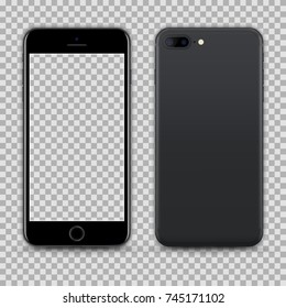 Realistic Black Smartphone with Transparent Screen Isolated. Front and Back Display View For Print, Web, Application. High Detailed Device Mockup Separate Groups and Layers. Easily Editable Vector.
