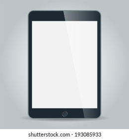 Realistic black tablet with blank screen in similar to ipad style isolated on white. Vector EPS10