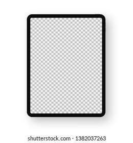 Realistic black Tablet on white background. Front transparent Display View. High Detailed Device Mockup. Separate Groups and Layers. Easily Editable Vector illustration