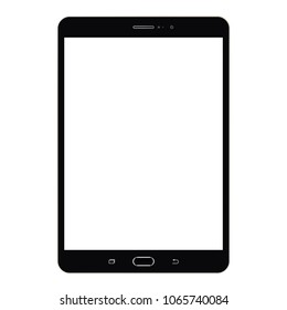 Realistic black Tablet samsung with white screen vector eps10. Tablet  samsung computer icon. Black tablet computer Samsung Galaxy Tab with blue screen isolated. Screen with search bar, clock and date