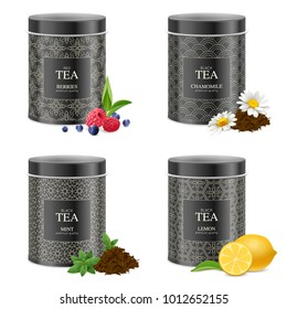 Realistic black tea tin boxes 4 packages collection with chamomile mint lemon raspberry blueberry isolated vector illustration