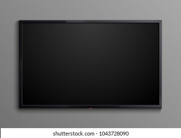 Realistic black television screen isolated. 3d blank led monitor display vector mockup. Display wide tv, digital realistic black screen illustration