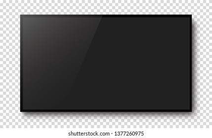 Realistic black television screen on a isolated baskgound. 3d blank TV led monitor - stock vector.