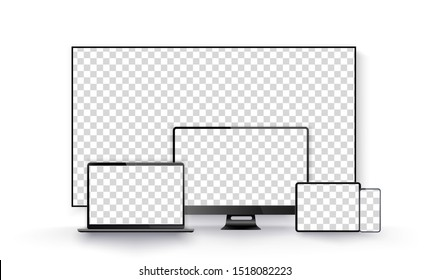 Realistic black television screen on a isolated background. Realistic set of Monitor, laptop, tablet, smartphone dark grey color. Template for infographics or presentation UI design interface. Vector