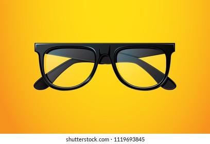 Realistic black vector glasses.