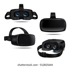 Realistic black vr headsets viewed from different sides isolated on white background vector illustration