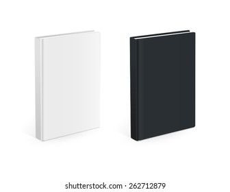 Realistic black and white books with empty covers