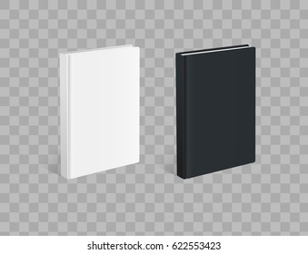 Realistic black and white books on the checkered background. Realistic book mockups.