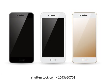 Realistic black white gold smartphone mockup, mobile phone template with blank screen isolated, vector illustration