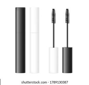 Realistic black and white mascara tube isolated on white background. Vector illustration. Front view. Can be use for template your design, presentation, promo, ad. EPS10.