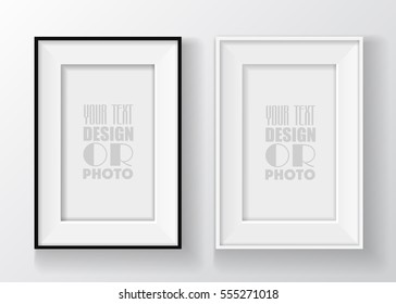 Realistic black and white picture frame on the wall isolated on white background. Vector illustration