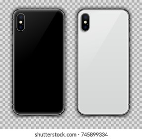 Realistic Black and White Slim Smartphone, Back View Display isolated on Transparent Background. New Version. High Detailed Device Mockup Separate Groups and Layers. Easily Editable Vector.