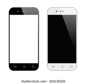 Realistic black and white smartphone. Mobile phone isolated on white background. Vector design smart phones.