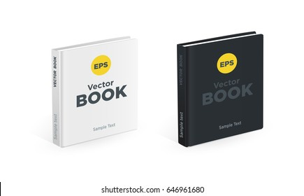 Realistic black and white square books on the white background. Realistic photo book mockups
