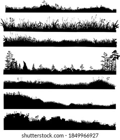 Realistic black and white vector bundle of silhouettes of the ground with grass, flowers, spikelets, trees on it. Hand drawn isolated illustrations for work, design, banners, landscapes.