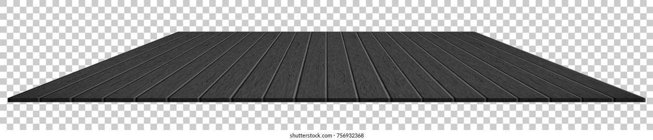 Realistic black wood plank perspective on transparent background vector illustration.