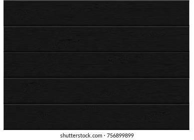 realistic black wood plank top view pattern background texture vector illustration.