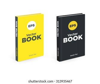 Realistic black and yellow books on the white background. Realistic book mockups.