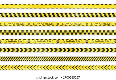 Realistic black and yellow seamless Covid-19 warning stripe lines isolated. Stop, Police, Warning, Danger, Quarantine, Under Construction, Do not cross concept. Crime isolation border tapes. Vector