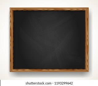 Realistic blank black chalkboard in wooden frame. Background for school or restaurant design, menu. Blackboard vector illustration with shadow isolated over white.