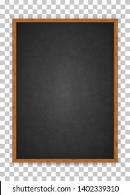 Realistic blank black chalkboard in wooden frame. Rubbed out dirty chalkboard. Background for school or restaurant design, menu. Blackboard isolated over whit background. Clipart vector illustration