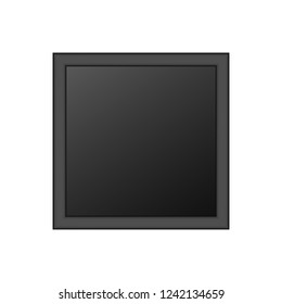Realistic Blank Black Picture Frame Isolated On White Background. Vector Illustration