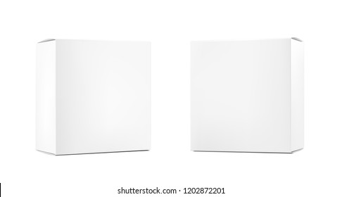 Realistic blank cardboard packaging boxes mock up. Vector illustration isolated on white background. Can be use for medicine, food, cosmetic and other. Ready for your design. EPS10.