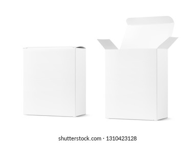 Realistic blank cardboard packaging boxes mockup. Open and closed. Vector illustration isolated on white background. Can be use for medicine, food, cosmetic and other. Ready for your design. EPS10.