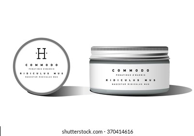 Realistic blank cosmetic container for cream, powder or gel. Package template. Vector mock up.