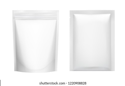 Realistic blank doy pack and sachet pouch pack mockup. Vector illustration isolated on white background for food, cosmetic and hygiene. Ready for your design. EPS10.