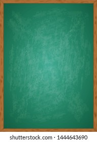 Realistic blank green chalkboard in wooden frame. Rubbed out dirty chalkboard. Background for school or restaurant design, menu. Blackboard isolated over whit background. Clipart vector illustration