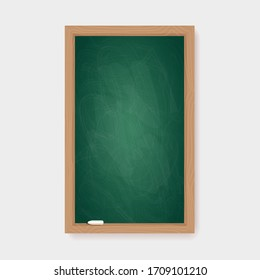 Realistic blank green chalkboard with wooden frame and chalk piece. Rubbed out dirty vertical retro blackboard, vintage school or restaurant menu background, vector illustration of educational concept