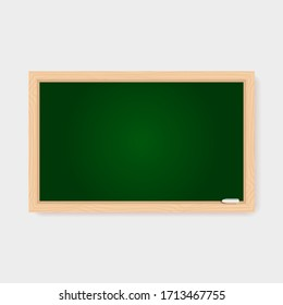 Realistic blank green chalkboard with wooden frame and chalk piece. Rubbed out clean retro blackboard, vintage school or restaurant menu background, vector illustration of educational concept