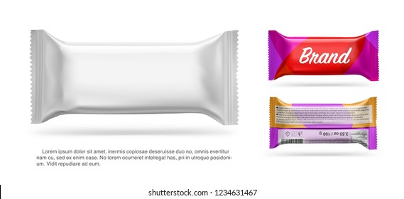 Realistic blank mockup of flow pack. Vector illustration isolated on white background, ready and simple to use for your design. Quickly allow you to present your idea or the finished product. EPS10.